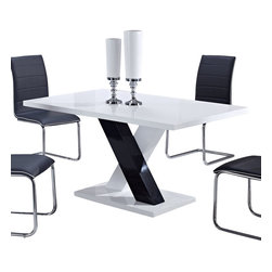 "Global Furniture - Global Furniture USA 490DT Rectangular Dining Table in White and Black - This contrasting black and white colored high gloss dining table will create an instant upgrade to your current decor. Featuring a rectangular top and ""X"" shaped base this piece is sure to suit your entertaining needs."