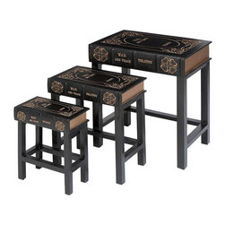 Benzara - Wood Leather Book Table - Set of 3 24in., 19in., 15in.H Accent Collection - *Size: Large - 20 x 14 x 24 inch