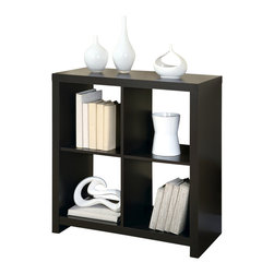 Monarch Specialties - Monarch Specialties 2525 Hollow-Core 34 Inch Room Divider Bookcase in Cappuccino - This cool contemporary bookcase will make a bold addition to your home office or living room. The unique asymmetrical step style of this cube shelving unit features clean sharp lines, in a rich dark finish that will really make a statement. Add books, pictures, and decorative accent items on the top of the piece and on its four shelves for a one-of-a-kind look with real personality. This open bookcase is the perfect choice for your contemporary home.