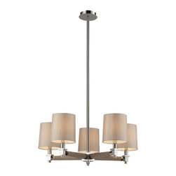 Elk Lighting - Elk Lighting 31337/5 Jorgenson 5 Light Chandelier in Taupe Wood & Polished Nicke - 5 Light Chandelier in Taupe Wood & Polished Nickel belongs to Jorgenson Collection by Elk Lighting The Jorgenson Collection Stylishly Bridges The Gap Between Mid-Century Modern Furniture Design And Lighting.��_��__ This Collection Was Designed Using Solid Wood That Emulates The Tapered Angle Of Fine Furniture Legs And Angular Metalwork That Compliments Its Sleek Style.��_��__ Choose Between Two Combinations Of Taupe Wood, Polished Nickel Metalwork And Champagne Fabric Shades, Or Mahogany Finished Wood, Satin Brass Metalwork And Tan Crosshatch Textured Linen Shades. Chandelier (1)