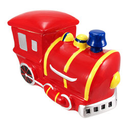Train Engine Ceramic Cookie Jar Locomotive - This incredibly cute red and yellow ceramic steam engine cookie jar really brightens up a kitchen. The jar measures 6 inches tall, 10 1/2 inches long and 5 1/4 inches deep. The lid has a rubber seal around the bottom, so your cookies stay fresh. It makes a great gift for train lovers, and can also be used to store dog treats.