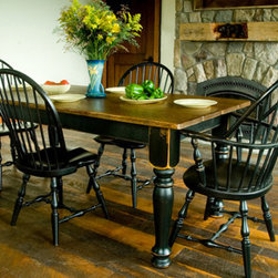 Casco Bay Furniture - 6' x 3' Pine Top Farm Table with Black Apron & Black Legs. - Hand crafted, hand planed farm tables from North Carolina.  Choice of solid: Cherry, Maple, Tiger Maple, Oak, Pine or Walnut.