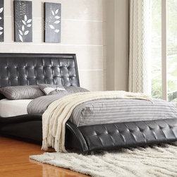 Coaster - Queen Bed, Black - This stunning dark upholstered bed will make a bold centerpiece in your master bedroom. This piece expands this striking look through the footboard in a sinuous wave-like shape. The curved side rails that flank the bed are also upholstered in matching black or white oft leather-like vinyl.