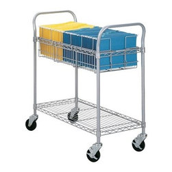 Safco Wire Mail Cart - 36 in. - The Safco Wire Mail Cart – 36 in. is ideal for a variety of corporate settings. This high quality and spacious cart is made with a durable steel frame and features smooth rolling, locking casters. A top shelf features a handy file rack while a bottom shelf is designed for larger items.About Safco ProductsSafco products were specifically developed to meet the changing needs of the business world, offering real design without great expense. Each product is designed to fit the needs of individuals and the way they work, by enhancing comfort and meeting the modern needs of organization in the workplace. These products encourage work-area efficiency and ultimately, work-life efficiency: from schools and universities, to hospitals and clinics, from small offices and businesses to corporations and large institutions, airports, restaurants, and malls. Safco continues to offer new colors, new styles, and new solutions according to market trends and the ever-changing needs of business life.