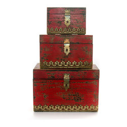 """Everybody's Ayurveda - Set of Three Aged Nesting Distressed Boxes in Red - Nesting Distressed Red Boxes Set of three. Boxes fit inside each other. Made in India. Dimensions: (Large) 10.6"""" x 5"""" x 6"""" (Medium) 8"""" x 5"""" x 5"""" (Small) 6.5"""" x 4"""" x 3.5"""" Hand crafted with a distressed finish, this set of boxes can be used together or separately - decor and storage all in one!Package Includes:Distressed Boxes OnlyDimensions:Width: 10.6 inch"""
