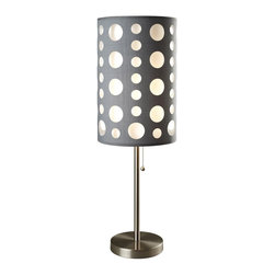 ORE International - Contemporary Plastic Table Lamp - Bulb not included. Requires one bulb. 100 watt A type bulb or 23 watt clf bulb of max 120v. Contemporary style. Fabric shade can be easily clean using damp cloth or duster. 10 in. Dia. outer shade in gray and 8 in. Dia. inner shade in white. Metal frame and base in chrome. Built with sturdy reinforcement in mind that can accentuate the lamp on any type of floor. Pulling chain for switching on and off. Warranty: 30 days. Assembly required. 16 in. Dia. x 33 in. H (7 lbs.)This stylish table lamp will brighten up your room while adding a touch of modern. One can easily detach the white colored inner layer shade to change the feel and the mood of the lamp and the room.