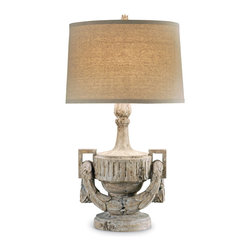 Urn and Swag Lamp - Speaking quiet neoclassical grace to its surroundings, this neutral-colored composition of a table lamp consists of a geometrically accented Grecian urn adorned with a draping sculpted garland of victor's laurels. Illuminate your room with this softly antiqued white lamp to enjoy the patrician elegance of ancient days. The lamp is completed with a timeless linen drum shade, best-quality solid brass cap fittings, and a fabric-wrapped cord; its maximum voltage is 150 watts.