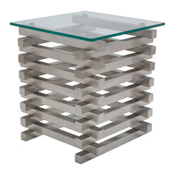 Nuevo Living - Stacked Side Table - This triumphant pillar of steel and glass is like a little chunk of modern city architecture for your living room. Built from stacked bars of sleek, gleaming metal with a clear glass top, it's got that edge of industrial toughness, with just enough open space in the design to lighten it up for your living space. Put it next to a chair with equal weight and character and it will make your room shine.