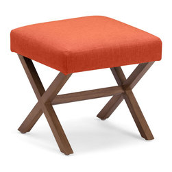 Zuo Modern Contemporary, Inc. - Corinthian Stool Sunkist - The Corinthian Stool is the perfect accent piece. Crossed wooden trestle legs bolster a simple yet colorful cushion. Comes in sunkist, mustard or aqua.