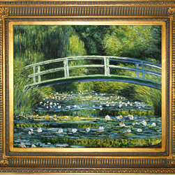 overstockArt.com - Monet - Japanese Bridge - Hand painted oil reproduction of a famous Monet painting, Japanese Bridge. The original masterpiece was created in 1899. Today it has been carefully recreated detail-by-detail, color-by-color to near perfection. Why settle for a print when you can add sophistication to your rooms with a beautiful fine gallery reproduction oil painting? While Monet successfully captured life's reality in many of his works, his aim was to analyze the ever-changing nature of color and light. Known as the classic Impressionist, Monet cannot help but inspire deep admiration for his talent in those who view his work. This work of art has the same emotions and beauty as the original. Why not grace your home with this reproduced masterpiece? It is sure to bring many admirers!