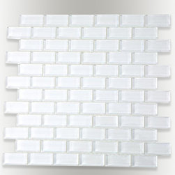 "Loft Super White Polished Glass Tiles - sample-LOFT SUPER WHITE POLISHED 1X2 1/4 SHEET GLASS TILES SAMPLE You are purchasing a 1/4 sheet sample measuring approximately 6"" x 6"". Samples are intended for color comparison purposes, not installation purposes.-Glass Tiles -"
