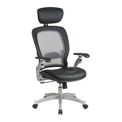 Office Star - Office Star SPACE Collection Air Grid Back Executive Leather Office Chair - Office Star - Office Chairs - 36806 - Increased productivity and comfort with this Executive Leather Office Chair. Adjustable headrest ensures good posture so you have energy for your daily work. Top grain leather and platinum finish metal base represent the high quality in this beautiful office chair.