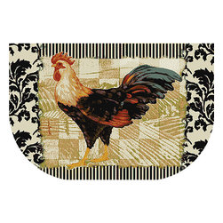 None - Bergerac Rooster Kitchen Accent Rug (1'6 x 2'6) - Add a lively country touch to your living space with this rooster kitchen accent rug. Made from nylon, this rug is machine-tufted with a latex backing. A rooster is depicted in the center with a delicate stripe and floral detailing in black and white.