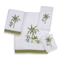 Avanti - Avanti Catesby Bath Towel in White - Avanti Catesby White Bath Towels feature a beautiful palm embroidery in tones of green accented with a two-tone coordinating fabric trim. 100% cotton with a sheared velour face.