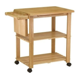 Winsome Wood - Kitchen Cart with Cutting Board & Knife Block - Our Kitchen Cart features a knife block, cutting board and two lower storage shelves with casters for mobility. This cart is a perfect addition to the kitchen , on patio, or anywhere else as you feel.