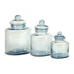 Cyprus Glass Canister - Set of 3 - Need cute containers to decorate your kitchen? These Cyprus glass canisters are great for adding a touch of style to any room as well as being food safe.