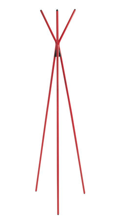 """Eurostyle - Celia Coat Rack - Red - Euro Style Celia coat rack is used to hang coats/jackets/hats. Rack measures 64.97"""" x 12.6"""" x 12.6"""" and adds compliments to your decor."""