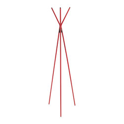 "Eurostyle - Celia Coat Rack - Red - Euro Style Celia coat rack is used to hang coats/jackets/hats. Rack measures 64.97"" x 12.6"" x 12.6"" and adds compliments to your decor."