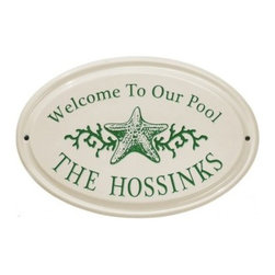 White Hall Star Fish Ceramic Oval Address Plaque - Horizontal - Offer an attractive accent to any wall space with the White Hall Star Fish Ceramic Oval Address Plaque – Horizontal. This quality oval plaque is crafted of durable ceramic and features 2 lines for text. Its charming star fish graphic adds a coastal charm. Choose from color options to best match your setting.About Whitehall ProductsWhitehall Products are known as the world's leading manufacturer of weathervanes and is equally as respected for their high quality personalized home wall plaques. They also offer a wide variety of mailboxes, garden accents, hose holders, birdbaths, bird feeders, sundials, and more. Each offers an original design and is hand cast for the highest quality product available. Based in Montague Michigan, Whitehall has been producing these popular products for over 65 years.