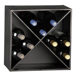 cellar wine rack - X marks a great little wine spot. Gunmetal panels intersect to stow 12 bottles. Stack for serious cellaring (see additional photos).- Freestanding- Stackable; each unit holds up to 12 bottles- Maximum number of cellar wine racks recommended for stacking is 5- Sheet metal with gunmetal finish- Made in Taiwan