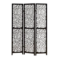 "Asia Direct - 3 Panel Black Finish Wood Scrolled Design Shoji Screen Room Divider - 3 panel black finish wood scrolled design shoji screen room divider with elegant design. Made with painted wood finish. Measures 48"" W x 71"" H."