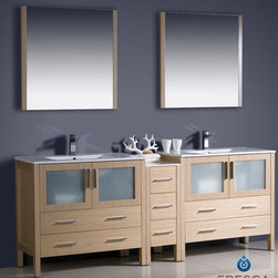 "Fresca - Fresca Torino 84"" Modern Double Sink Bathroom Vanity w/ One Side Cabinet & Two I - Fresca is pleased to usher in a new age of customization with the introduction of its Torino line. The frosted glass panels of the doors balance out the sleek and modern lines of Torino, allowing it to fit perfectly in both 'Town' and 'Country' décor.The Fresco Torino bathroom vanity is 84"" wide and 35.75"" high, and boasts 18.13"" deep under-sink storage space – perfect for towels and other bathroom necessities. This bathroom vanity is completed with a 31.5"" wide x 31.5"" high x 1.25"" deep wall mounted mirror for optimal function and style.Items included: Main Vanity Cabinet(s), Countertop(s), Vessel/Integrated Sink(s), Mirror(s), Faucet(s), P-Trap and Pop-Up Drain(s), Standard hardware needed for installation.DecorPlanet is proud to offer Fresca Bathroom products. Fresca is a leading manufacturer of high-quality vanities, accessories, toilets, faucets, and everything else to give you the freshest bathroom in the neighborhood. Fresca is known for carrying the latest and most popular styles in modern and contemporary bathroom design that are made with high quality materials and superior workmanship."