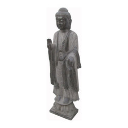 Golden Lotus - Chinese Antique Stone Hand Carving Standing Buddha Statue - Look at this Chinese standing Buddha statue which is made of stone.  It should be perfect to decorate your garden.