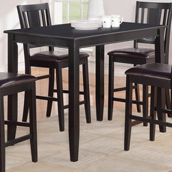 "East West Furniture - Buckland Counter Height Rectangular Table 30""x48"" in Black Finish - Buckland Counter Height Rectangular Table 30""x48"" in Black Finish; This Buckland dinette set is the perfect addition to any modern home with its rectangular shape and alluring black finish.; The counter height table comfortably seats between four and eight people and offers plenty of leg room underneath.; Transition edges on the tabletop offer a touch of class to this modern Buckland counter height dining set.; Weight: 56 lbs; Dimensions: 48""L x 30""W x 36""H"