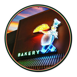 Past Time Signs - Bakery Round Metal Sign 28 x 28 Inches - - Width: 28 Inches