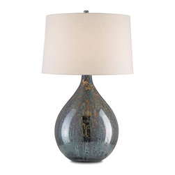 Currey and Company - Merseyside Table Lamp - An oversized and beautiful blue mercury table lamp with nickel fittings. The lamp is topped by a round blue linen shade.