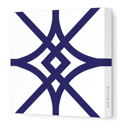"""Avalisa - Pattern - Diamond Stretched Wall Art, 12"""" x 12"""", Navy - Here's a real gem for your walls. Bold, graphic lines in a rainbow of color choices form an overlapping, stylized diamond pattern on white, stretched fabric. Pick one in your choice of sizes or get four or more to create a dazzling grid."""