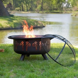Red Ember Oasis Fire Pit with Grill Grate and Free Cover - Turn your patio into a relaxing oasis with the tropical-inspired Red Ember Oasis Rubbend Bronze Fire Pit. Palm tree cutouts along the sides of the fire pit let the flickering flames shine through, while a protective screen keeps sparks and embers inside. This wood-burning fire pit is made of weather-resistant steel with an attractive oil-rubbed bronze and black finish. An easy-lift spark screen helps protect you and your guests from stray sparks and ash. When you're not using it, protect your fire pit from the elements with the included vinyl cover. Additional dimensions: Bowl diameter: 30.98 inches Bowl depth: 12.6 inchesAbout Red EmberAt the center of any good outdoor gathering is a fire. At the center of a fire, a Red Ember. We make fire products designed to bring people together. Red Ember products harness the age-old power of fire to comfort, heat, cook, and enchant. Our experience and expertise in the industry allow us to provide added features and extras without burning a hole in your pocket. It's not about spending a lot of money - it's about lighting a fire. Get together and gather 'round a Red Ember.