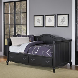 HomeStyles - Rubbed Black Daybed - The daybed is constructed of hardwood solids and engineered wood in a heavily rubbed black finish. Features include two large full extension storage drawers. Design features include detailed panels, shaped carved proud legs, and detailed brass hardware. Accommodates a standard twin mattress. Assembly required. 83.5 in. W x 45.75 in. D x 45 in. H