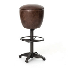 Baron Footrest Vintage Leather Barstool - Balancing dramatic scale with flea marketing-find design, the Footrest Vintage Leather BarStool offers comfortable seating in industrial vintage style legs and buttery top grain vintage leather. Inspired 19th-century soda fountain stools. This leather Kitchen BarStool generously padded and upholstered in distressed vintage leather and black wax finish metal leg.