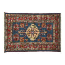 Navy Area Rug, Super Kazak Hand Knotted 2'X3' 100% Wool Tribal Design Rug SH7740 - This collections consists of well known classical southwestern designs like Kazaks, Serapis, Herizs, Mamluks, Kilims, and Bokaras. These tribal motifs are very popular down in the South and especially out west.