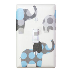 Elephant Nursery - Handmade light switch plates are a fun and creative way to add the perfect finishing touch to your child's room or baby nursery! This light switch plate and features adorable polka dot elephants in gray and light blue!