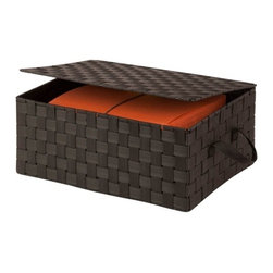 Hinged Lid Woven Storage Box, Espresso - Honey-Can-Do OFC-03704 Hinged Lid Storage Box, Espresso. Clear the clutter with this hinged-lid storage box in contemporary woven strapping. Measuring 17 inches long x 12 inches wide and 7 inches high, this storage solution provides ample space for stashing odds and ends. The durable woven strapping will stand the test of time and add a unique look to your home or office. Coordinates with other pieces in Honey-Can-Do's collection of double woven products.