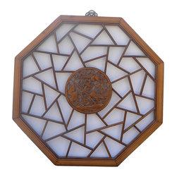 Golden Lotus - Chinese Octagon Bird Scene Geometric Wood Wall Decor - Chinese Octagon Bird Scene Geometric Wood Wall Decor