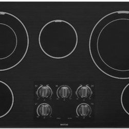 "Maytag - MEC9536BB 36"" Smoothtop Electric Cooktop With Two Dual-Choice Elements  5 Radian - This 36 in Maytag cooktop offers two Dual-Choice elements that provide pan-size flexibility and offer a powerful output of up to 3000 watts so you can easily boil water quickly Lower-heat single elements can be used to prepare sauces to brown or saut..."