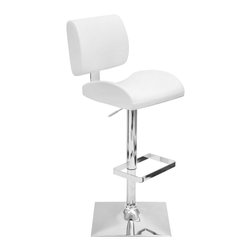 "Lumisource - Locust Barstool White - The Locust Barstool is made for comfort! The soft, yet sturdy leatherette cushions, made with molded foam for extra padded support, will entice you and your guests every time! With a smooth hydraulic system that adjusts from counter to bar height, swivel seating, and a trendy, square chrome footrest and base, you're sure to impress time and time again. Seat height adjusts hydraulically from 24"" to 32"". Recommended for residential use."