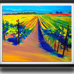"Ann Rea - Bring home Carneros with ""Glory Vines"" by Ann Rea, Black Frame, Small - ""The most color saturated afternoon light eventually gives way to the silver moon forcing me to focus and paint quickly.""  -Ann Rea"