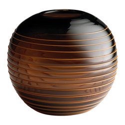 Kathy Kuo Home - Large Amber Brown Striped Glass Modern Ball Vase - Like an oversized pearl, this gorgeous metal toned round vase has an irresistible iridescence and sensuality about it.  With a gentle ribbed swirl winding delicately through its center, an earthy approach to art glass comes beautifully to life. A perfect piece for rustic and modern spaces.