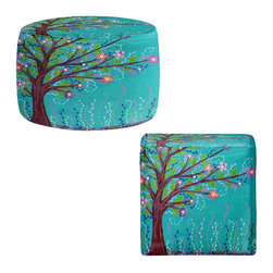 DiaNoche Designs - Ottoman Foot Stool by Sascalia - Happy Tree - Lightweight, artistic, bean bag style Ottomans. You now have a unique place to rest your legs or tush after a long day, on this firm, artistic furtniture!  Artist print on all sides. Dye Sublimation printing adheres the ink to the material for long life and durability.  Machine Washable on cold.  Product may vary slightly from image.