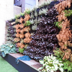 Vertical Garden Watering System - Irrigation system for this living wall or vertical garden was repaired by New York Plantings Drip Irrigation Specialists NYC.New York Plantings Irrigation and Landscape Lighting