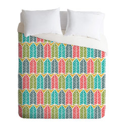 Heather Dutton Arboretum Leafy Multi King Duvet Cover - Heather Dutton's colorful pattern of stylized trees gives a nod to nature while capturing the feel of a retro geometric print. In other words, you can use this duvet to appeal to tree huggers and retro lovers alike!