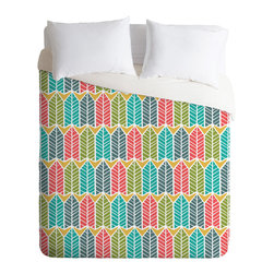 DENY Designs - Heather Dutton Arboretum Leafy Multi King Duvet Cover - Heather Dutton's colorful pattern of stylized trees gives a nod to nature while capturing the feel of a retro geometric print. In other words, you can use this duvet to appeal to tree huggers and retro lovers alike!