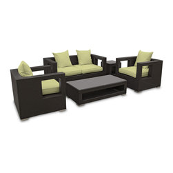 Modway Furniture - Modway Lunar 5 Piece Sofa Set in Espresso Peridot - 5 Piece Sofa Set in Espresso Peridot belongs to Lunar Collection by Modway Elicit pure perceptions with this brightly illuminated outdoor living set. Inherit abundant light and energy as even the moon's halo shines a radiant glow on fertile peridot all-weather cushions and espresso rattan base. Rejuvenating discussions await along the path of illuminated space and emergent explorations. Set Includes: Four - Lunar Outdoor Wicker Patio Throw Pillows One - Lunar Outdoor Wicker Patio Coffee Table One - Lunar Outdoor Wicker Patio Loveseat One - Lunar Outdoor Wicker Patio Side Table Two - Lunar Outdoor Wicker Patio Armchairs Coffee Table (1) , Loveseat (1), Side Table (1) , Arm Chair (2), Throw Pillow (4)