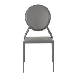 Euro Style - Isabella Side Chair (Set Of 2) - Gray Leather - Leather.  Leather.  And more leather.  There's nothing like the look and feel of the real thing and the Isabella seat, back, and legs are all dressed up in leather.  You just can't touch this design anywhere.  Oh, go ahead� feels great.