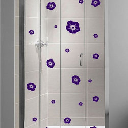 StickONmania - Shower Door Vinyl Decal #24 - These decals come with two of each element mirrored, you choose how to place them.A vinyl decal sticker that lets you choose how to decorate. Decorate your home with original vinyl decals made to order in our shop located in the USA. We only use the best equipment and materials to guarantee the everlasting quality of each vinyl sticker. Our original wall art design stickers are easy to apply on most flat surfaces, including slightly textured walls, windows, mirrors, or any smooth surface. Some wall decals may come in multiple pieces due to the size of the design, different sizes of most of our vinyl stickers are available, please message us for a quote. Interior wall decor stickers come with a MATTE finish that is easier to remove from painted surfaces but Exterior stickers for cars,  bathrooms and refrigerators come with a stickier GLOSSY finish that can also be used for exterior purposes. We DO NOT recommend using glossy finish stickers on walls. All of our Vinyl wall decals are removable but not re-positionable, simply peel and stick, no glue or chemicals needed. Our decals always come with instructions and if you order from Houzz we will always add a small thank you gift.