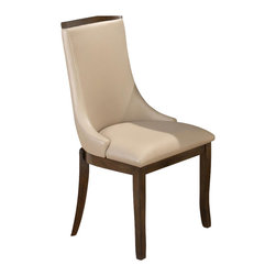 Jofran - Jofran Webber Walnut Madison Side Chair in Stone Faux Leather (set of 2) - Jofran - Dining Chairs - 417679KD - This lovely winged dining side chair is a touch retro and a mite contemporary but totally built for function and comfort. Featuring a a chic design with low winged sides tapered block legs and an upholstered back and seat this piece will be an elegant addition to your kitchen or formal dining room. The seat padding makes this chair durable comfortable and tough. The walnut colored finish is complemented by the beige faux leather upholstery.